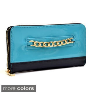 Dasein Gold-Tone Corner Faux Leather Push Lock Wallet
