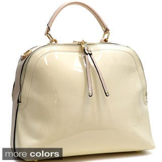 Dasein Faux Leather Dome Satchel with Shoulder Strap