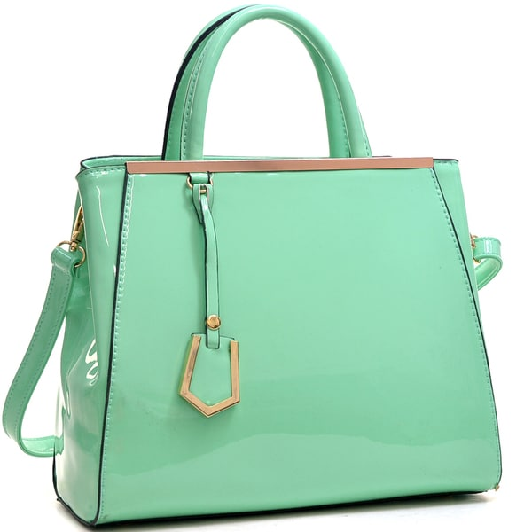 Dasein Patent Faux Leather Tote with Gold-Tone Accent