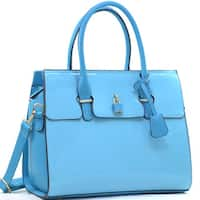 Dasein Faux Leather Padlock Satchel with Shoulder Strap