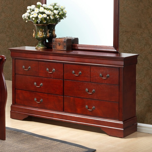 Shop Louis Philipe Six Drawer Cherry Wood Finish Dresser