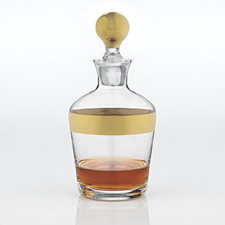 Wine Enthusiast Madison Avenue Gold Band Whiskey Decanter