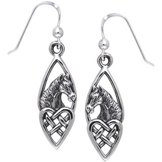 Sterling Silver Horse with Celtic Heart Dangle Earrings
