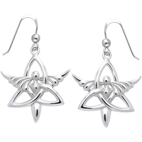 2b0f23401 Shop Sterling Silver Trinity Angel Celtic Knot Dangle Earrings Religious  Jewelry - Free Shipping On Orders Over $45 - Overstock - 10062600