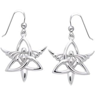Carolina Glamour Collection Sterling Silver Trinity Angel Celtic Knot Dangle Earrings Religious Jewelry