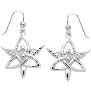 Sterling Silver Trinity Angel Celtic Knot Dangle Earrings Religious Jewelry