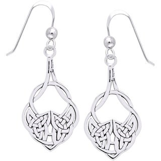 Sterling Silver Celtic Teardrop Knot Work Dangle Earrings