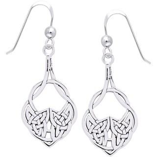 Sterling Silver Celtic Teardrop Knot Work Dangle Earrings