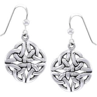 Sterling Silver Celtic Trinity Quadrata Designed Dangle Earrings|https://ak1.ostkcdn.com/images/products/10062602/P17207528.jpg?impolicy=medium