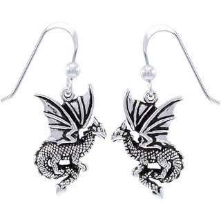 Sterling Silver Flying Dragon Dangle Earring