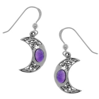 Sterling Silver Crescent Moon Dangle Earrings with Celtic Knot Work and Purple Amethyst Stones