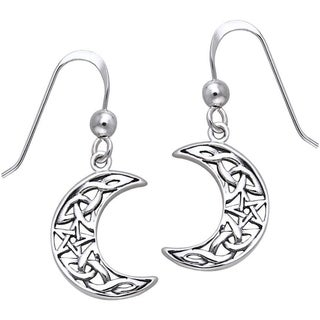 Carolina Glamour Collection Sterling Silver Celtic Crescent Moon and Star Dangle Earrings