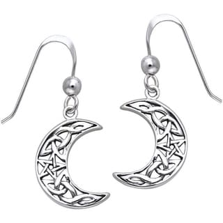 Sterling Silver Celtic Crescent Moon and Star Dangle Earrings