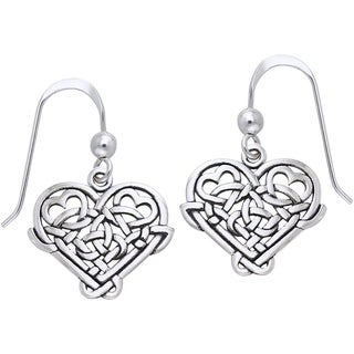 Carolina Glamour Collection Sterling Silver Celtic Knot Eternal Love Heart Dangle Earrings
