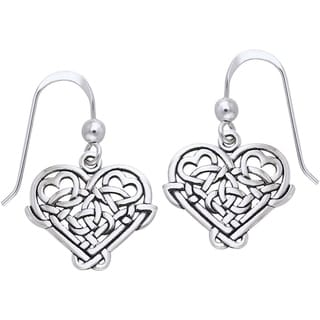 Sterling Silver Celtic Knot Eternal Love Heart Dangle Earrings