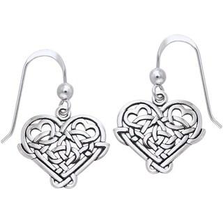 Sterling Silver Celtic Knot Eternal Love Heart Dangle Earrings