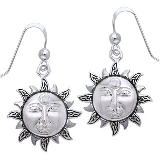 Carolina Glamour Collection Sterling Silver with Rainbow Moonstone Celtic Knot Celestial Sun Dangle Earrings