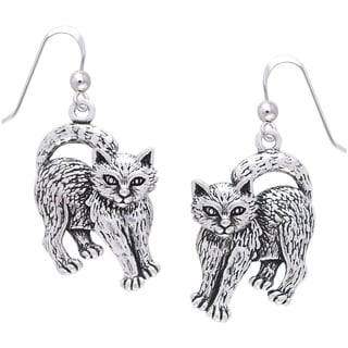 Sterling Silver Playful Kittens Dangle Earrings