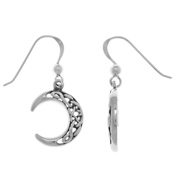 Sterling Silver Celtic Crescent Moon Dangle Earrings