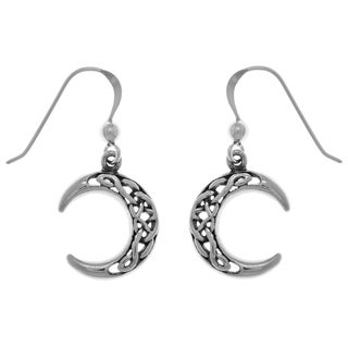 Carolina Glamour Collection Sterling Silver Celtic Crescent Moon Dangle Earrings