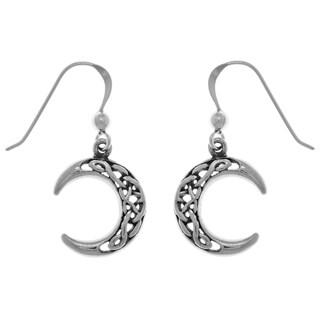 Sterling Silver Celtic Crescent Moon Dangle Earrings