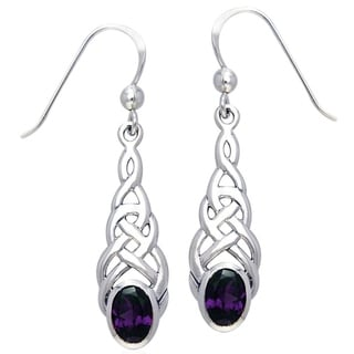 Carolina Glamour Collection Sterling Silver Elegant Celtic Knotwork Linear Dangle Earrings with Gemstone