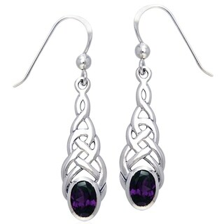 Sterling Silver Elegant Celtic Knotwork Linear Dangle Earrings with Gemstone