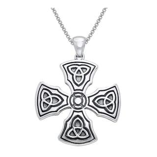Carolina Glamour Collection Sterling Silver Celtic Trinity Knights Templar Cross Pendant