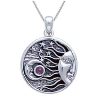 Sterling Silver Celestial Sun Moon Stars Pendant with Amethyst Stone