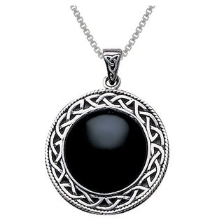 Carolina Glamour Collection Sterling Silver Black Onyx Statement Pendant w/ Celtic Knot Work Frame
