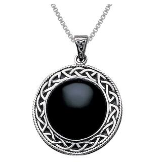 Sterling Silver Black Onyx Statement Pendant w/ Celtic Knot Work Frame|https://ak1.ostkcdn.com/images/products/10062631/P17207547.jpg?impolicy=medium