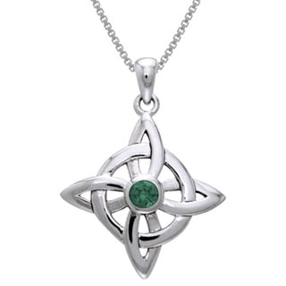 Link to Sterling Silver Celtic Good Luck Knot Pendant with Gemstone Similar Items in Necklaces