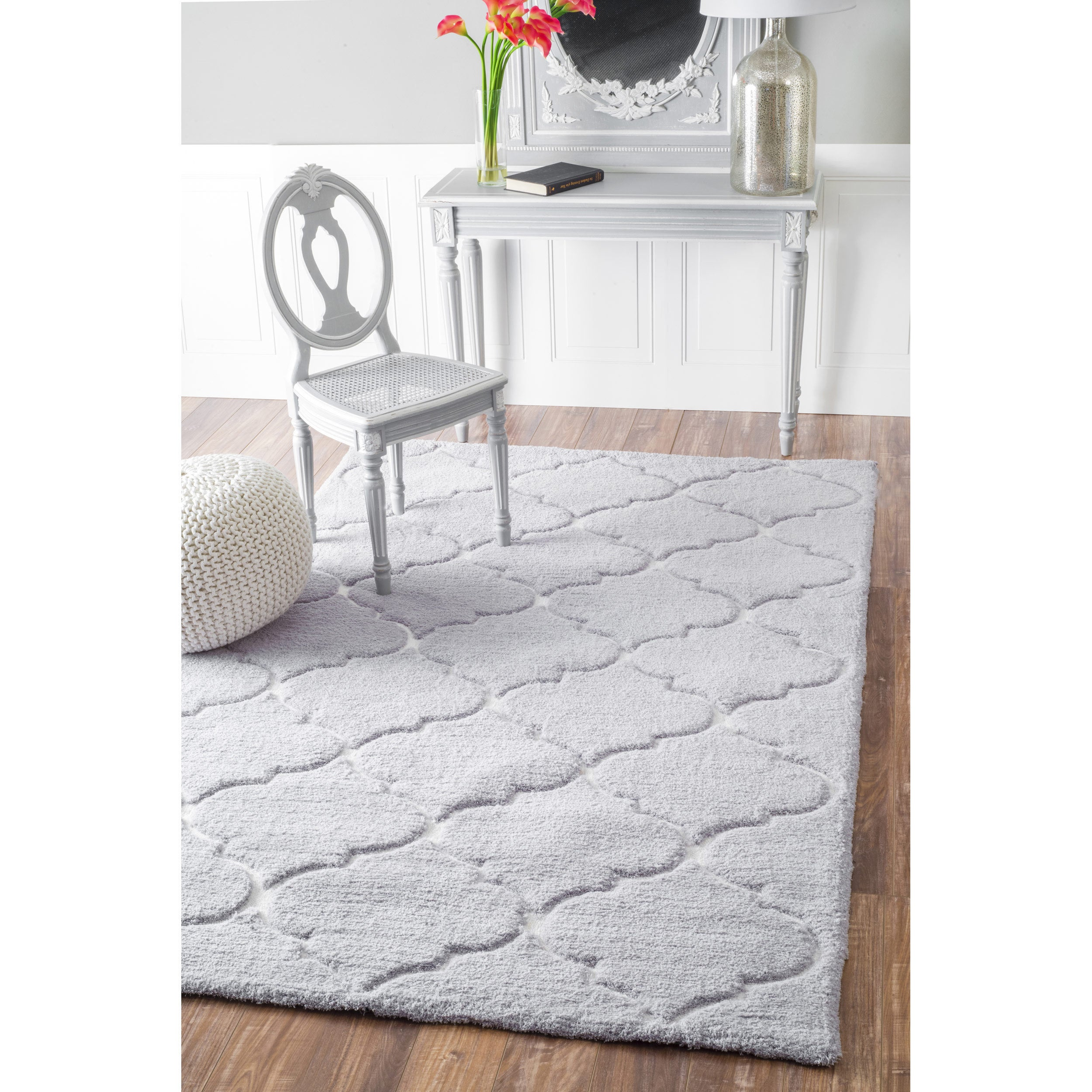 nuLOOM Handmade Geometric Soft and Plush Trellis Grey Sha...