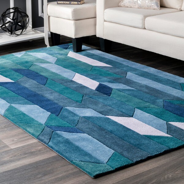 "nuLOOM Handmade Modern Geometric Blue Rug (7'6 x 9'6) - 7'6"" x 9'6"""