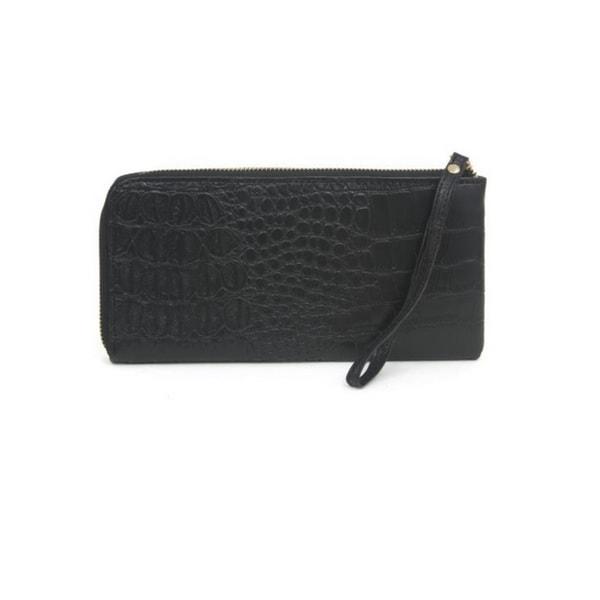 Buxton Croco Double Ziparound Clutch Wristlet Wallet,Black