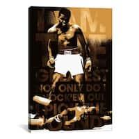iCanvas Muhammad Ali Vs. Sonny Liston Text Canvas Print Wall Art