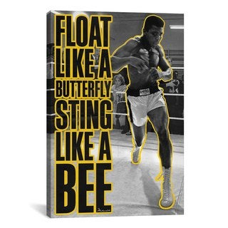 iCanvas Float Like a Butterfly Sting Like a Bee Yellow Canvas Print Wall Art