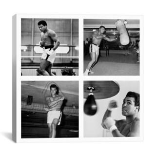 iCanvas Muhammad Ali Practicing on Punching Bag Canvas Print Wall Art