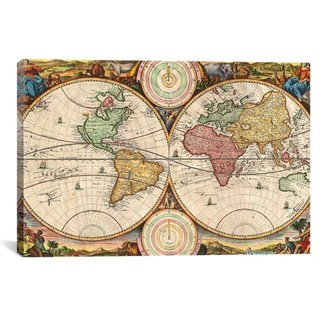 iCanvas Stoopendaal Antique Map of the World in two Hemispheres (1730) Canvas Print Wall Art