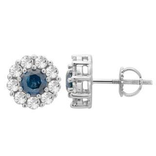 Divina 14k White Gold 1 1/3 ct TDW Blue/ White Diamond Halo Stud Earrings (I-J, I2-I3)