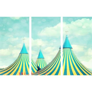 Marmont Hill 'Circus Tent Triptych' Canvas Art - Multi-color