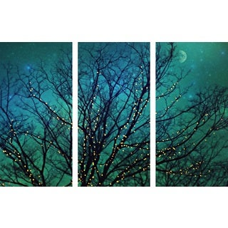 Marmont Hill 'Magical Night Triptych' Canvas Art - Multi-color