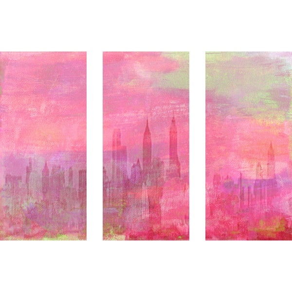 Marmont Hill 'In the Moment Triptych' Canvas Art - Multi-color