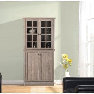 Reclaimed Wood 2-door Glass Storage Cabinet