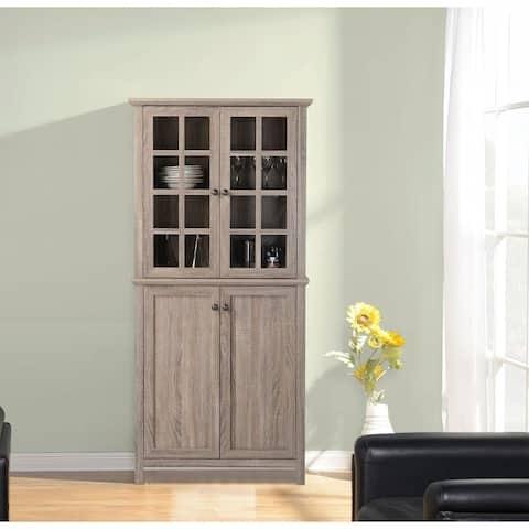 Reclaimed Wood 2-door Glass Storage Cabinet