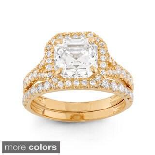 10k Gold 4 9/10ct TGW Asscher-cut Cubic Zirconia 2-piece Bridal Set Ring