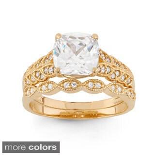 10k Gold 2 2/5ct TGW Cushion-cut Cubic Zirconia 2-piece Bridal Set Ring