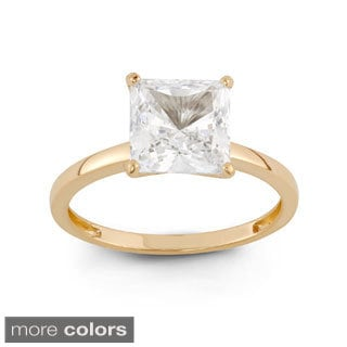 10k Gold 3ct TGW Princess-cut Cubic Zirconia Solitaire Ring