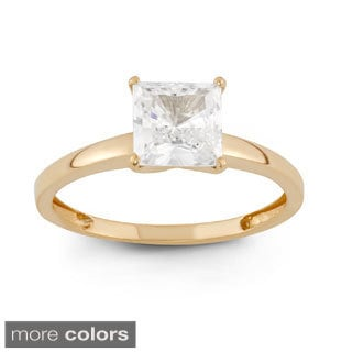 10k Gold 1 5/8ct TGW Princess-cut Cubic Zirconia Solitaire Ring