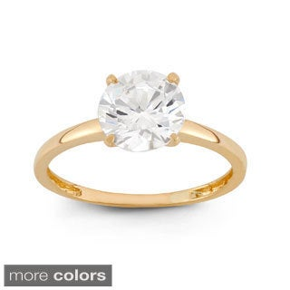 10k Gold 2ct TCW Round-cut Cubic Zirconia Solitaire Ring